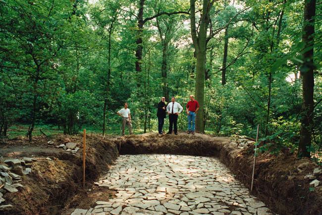 Voorbereiding van de Romeinse straat,